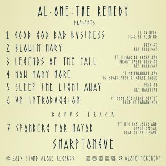 Al-One The Remedy - Sharptongue, hip hop, new album, brash blog