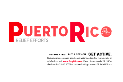 puerto rico, hurricane maria, puerto rico relief, hurrican relief, fitness brand, fit by bliss, bliss fitness, health and wellness, fitness, training session, official fitness tee