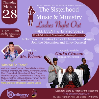 """The Sisterhood In Music and Ministry """"Ladies Night Out"""" flyer"""